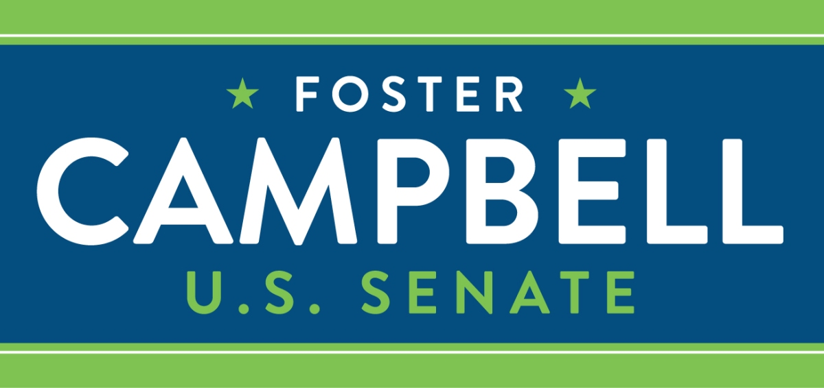 "The photo says ""Foster Campbell for US Senate"""
