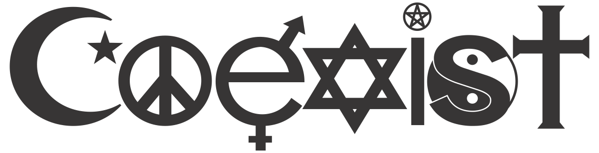 """The photo shows the word """"coexist,"""" with religious symbols for various world faiths substituted for some of the letters."""