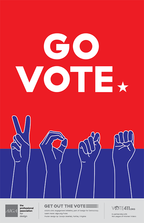 "The photo has a red background with the text ""go vote"" in white letters, and the American Sign Language signs for ""VOTE"" at the bottom."
