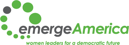 "The image shows text saying, ""Emerge America: women leaders for a democratic future"""
