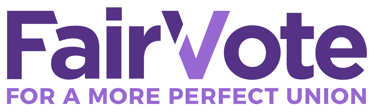 "The photo has text that says, ""FairVote: for a more perfect union"""