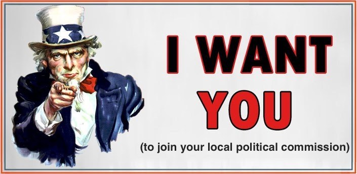"""The photo shows Uncle Sam, with the text """"I want you"""" in all caps, and """"to join your local political commission"""" in lower case."""