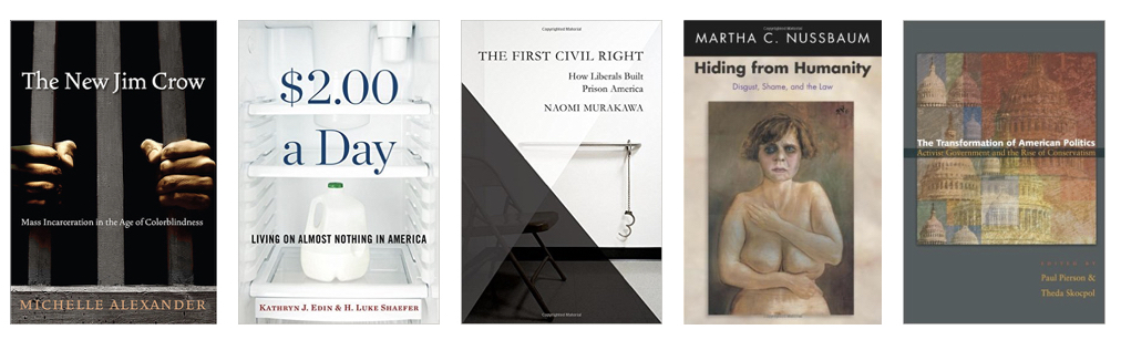 The photo shows the covers of the five books described in the post.