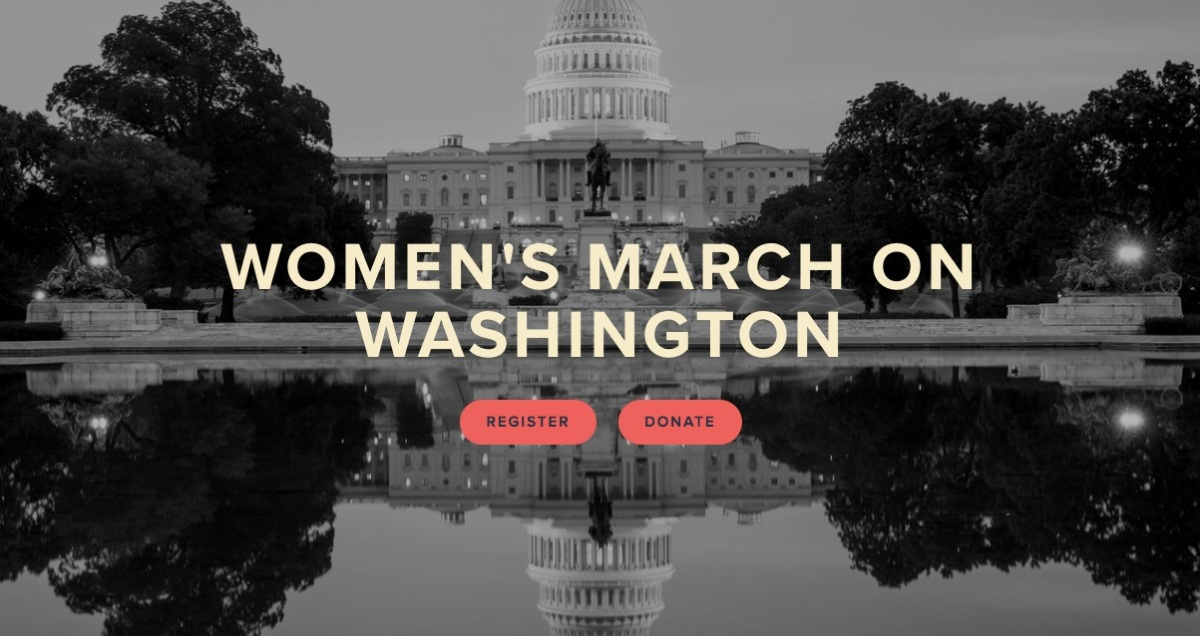 """The photo shows the US Capitol with the text """"women's march on Washington"""" overlaid on it"""
