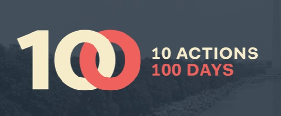"The image shows text which reads ""10 actions, 100 days"""