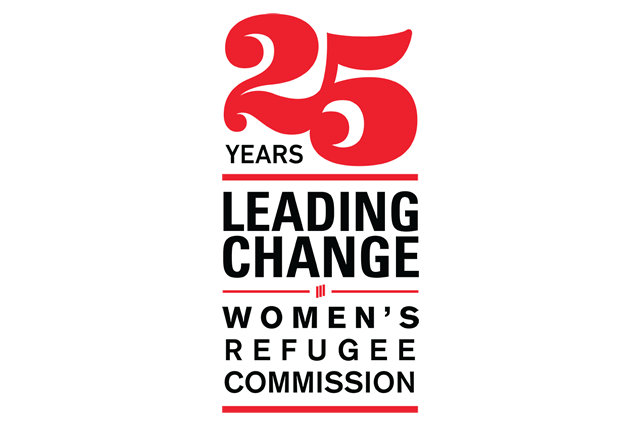 "The image shows text reading ""25 years leading change: Women's Refugee Commission"""