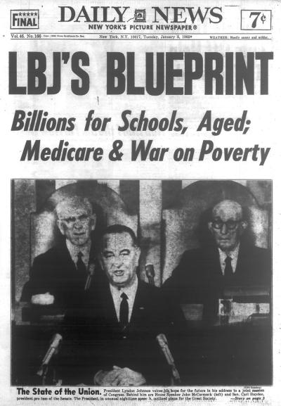 "The image shows a New York Daily News front page from the 1960s, with the headline ""LBJ's blueprint: billions for schools, aged, medicare and war on poverty"""