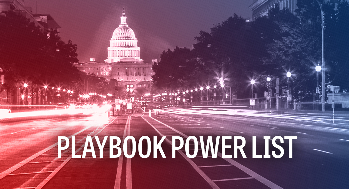 """The image shows a photo of the US Capitol with the text """"playbook power list"""" superimposed on it"""